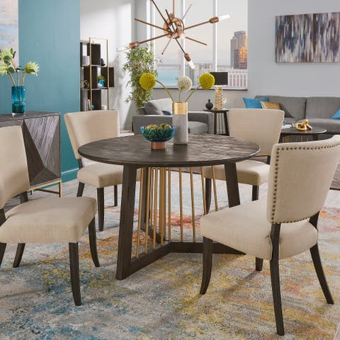 Steinn Antique Gold Finished Metal and Reclaimed Wood 5-piece Dining Set with 48-inch Round Table by iNSPIRE Q Bold