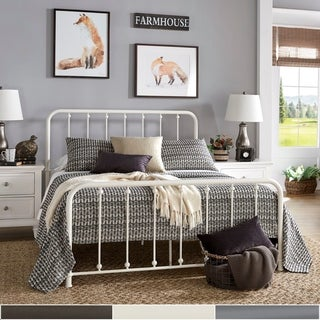 Copper Grove Balta Metal Bed with Beaded Headboard