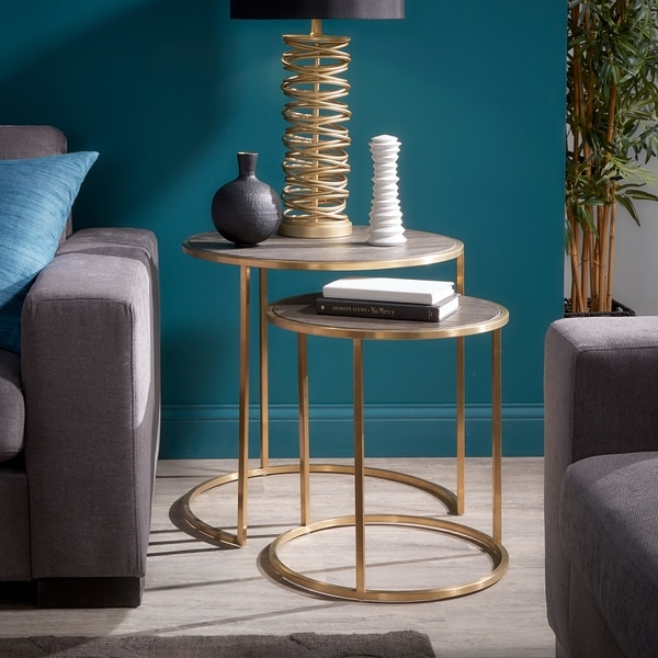 Strick & Bolton Rimma Gold-finished Metal Nesting Table Set