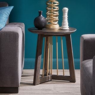 Strick & Bolton Yael Gold-finished Metal and Reclaimed Wood End Table