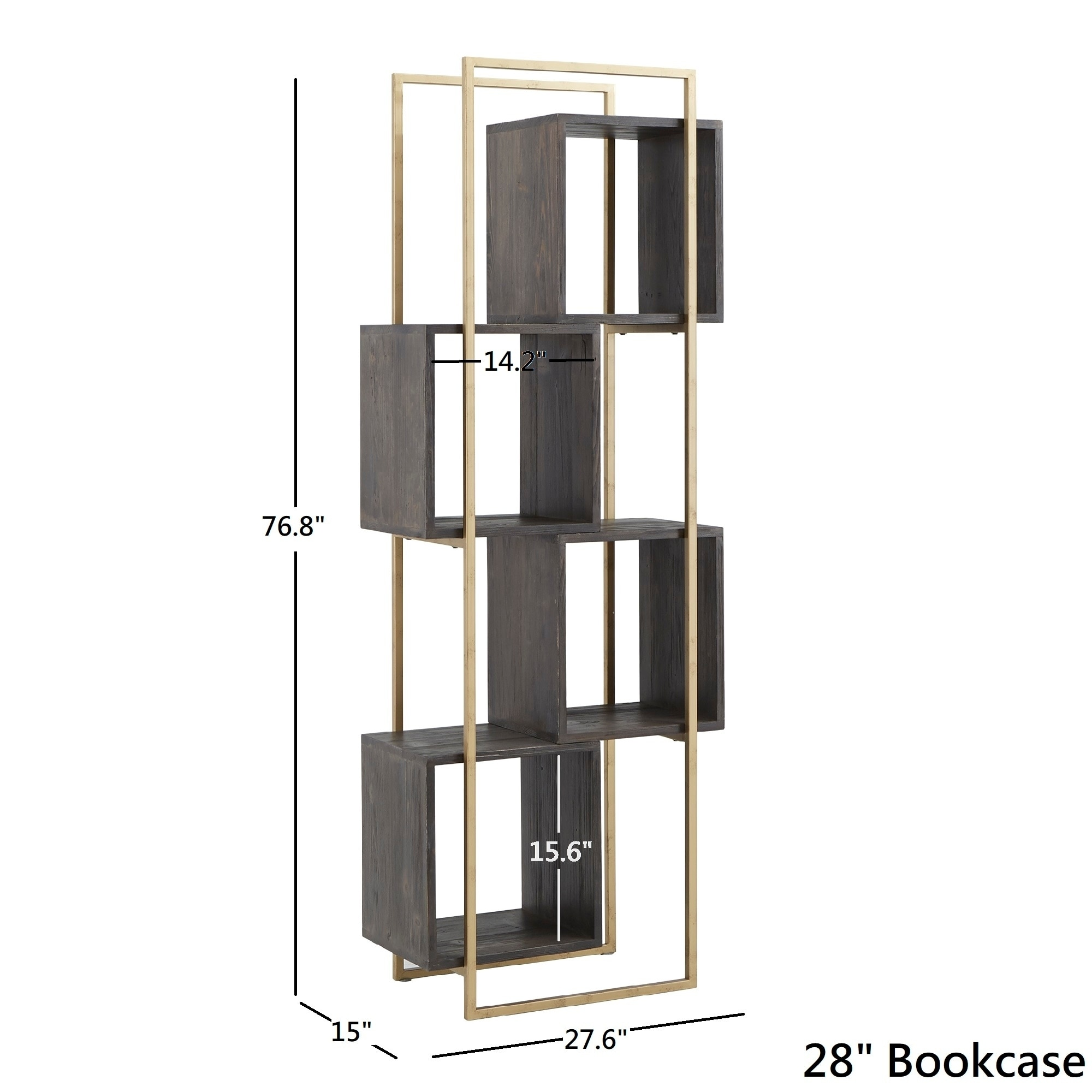 Strick Bolton Etienne Gold Finished Metal And Reclaimed Wood Bookcase