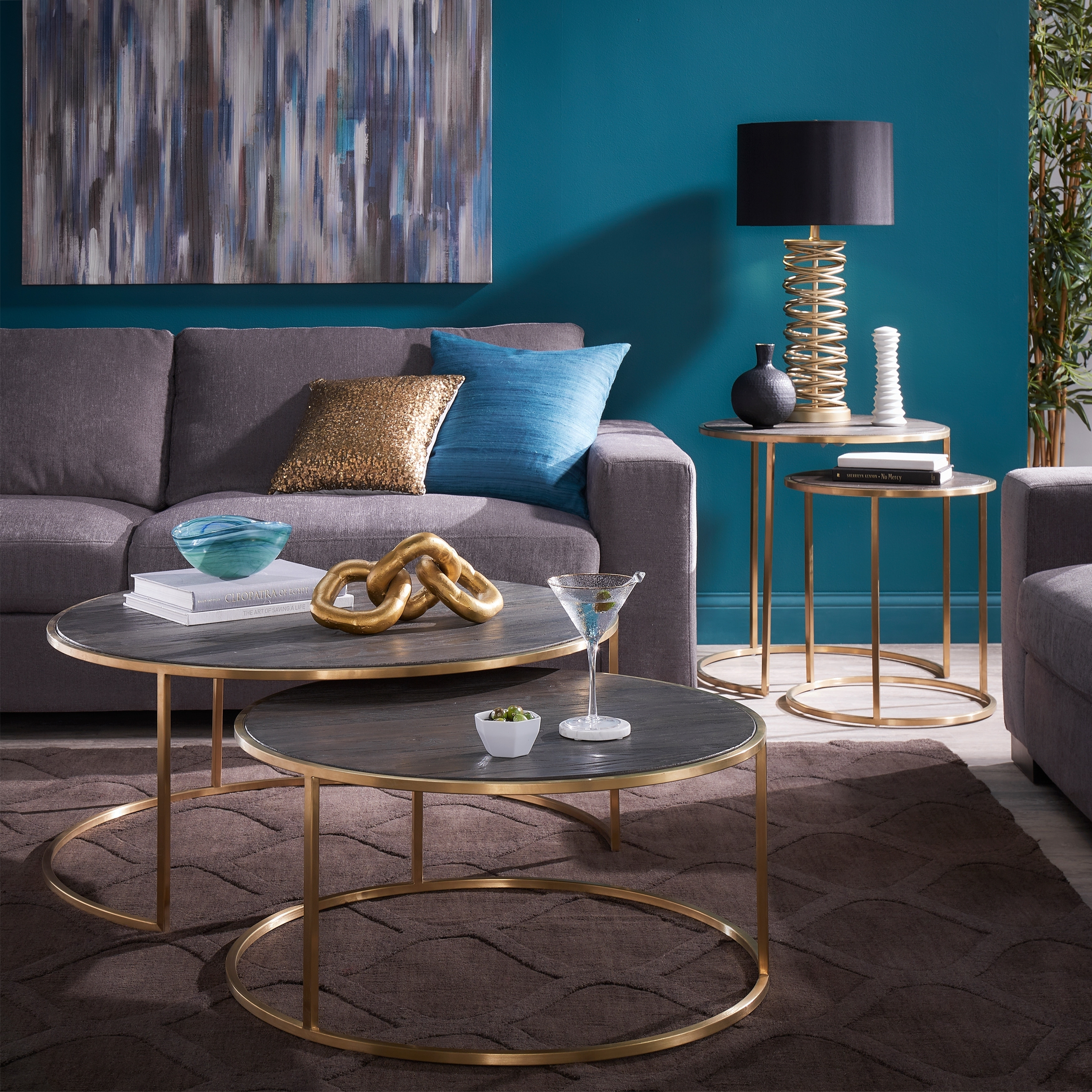 Subira Antique Gold Finished Metal And Reclaimed Wood Round Coffee Table Nesting Set By Inspire Q Bold Overstock 28082234
