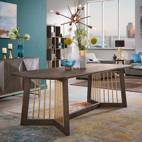 Strick & Bolton Bluhm Gold-finished Metal and Reclaimed Wood 86-inch Dining Table - Antique Gold