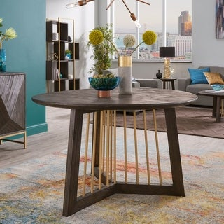 Strick & Bolton Bluhm Gold-finished Metal and Reclaimed Wood Dining Table