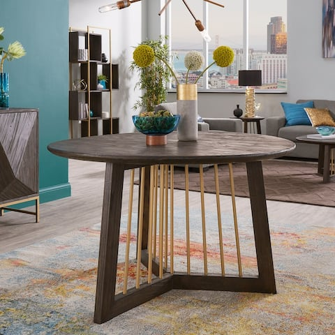 Strick & Bolton Bluhm Gold-finished Metal and Reclaimed Wood Dining Table - Antique Gold