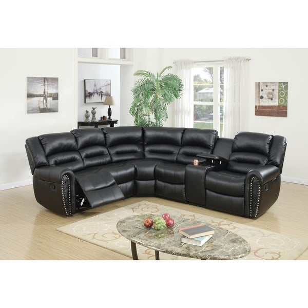 Kral Reclining Sectional, Black