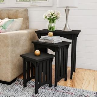 Lavish Home Black Wooden Traditional Nesting Tables- Set of 3