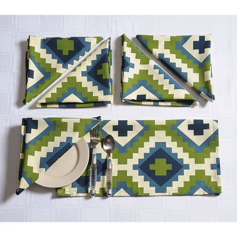Handmade Cotton Bohemian Print and Pattern Soft Table Napkin Set (India)