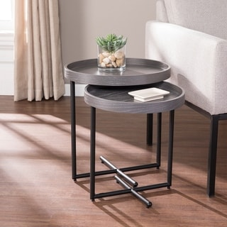 Strick & Bolton Stedham Industrial Gray Metal Nesting Accent Table (Set of 2)