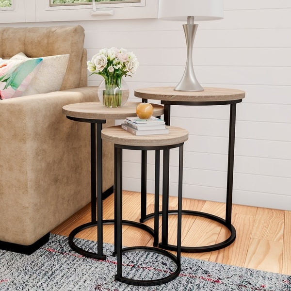 Lavish Home Accent Furniture Woodgrain Look Round Nesting Tables With Black Base Set
