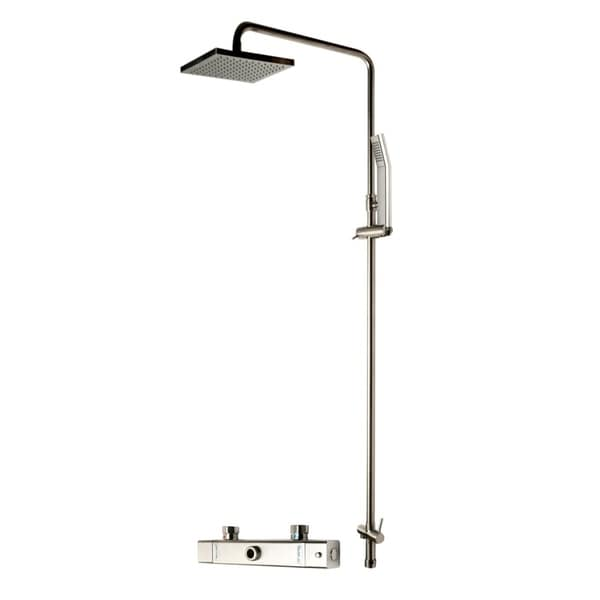 ALFI brand AB2862-BN Brushed Nickel Square Style Thermostatic Exposed Shower Set. Opens flyout.