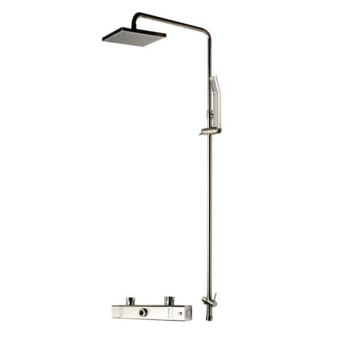 ALFI brand AB2862-BN Brushed Nickel Square Style Thermostatic Exposed Shower Set