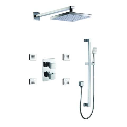 ALFI brand AB2287-PC Polished Chrome 3 Way Thermostatic Shower Set with Body Sprays