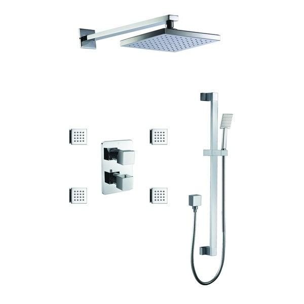 ALFI brand AB2287-PC Polished Chrome 3 Way Thermostatic Shower Set with Body Sprays. Opens flyout.