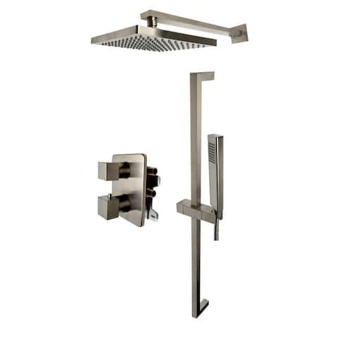 ALFI brand AB2830-BN Brushed Nickel 2 Way Thermostatic Square Shower Set