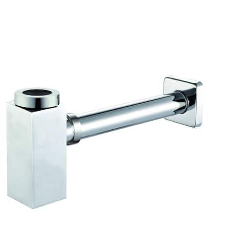 ALFI brand AB9026-BN Brushed Nickel Solid Brass Square Modern Decorative Bottle P-Trap - Grey