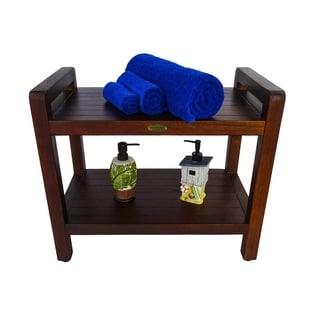 "DecoTeak Eleganto 24"" Teak Shower Stool with LiftAid Arms & Shelf"