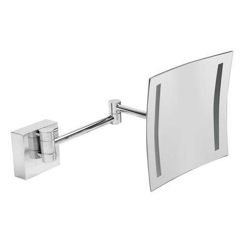 "ALFI brandABM8WLED-PCPolished Chrome Wall Mount Square 8"" 5x Magnifying Cosmetic Mirror with Light"