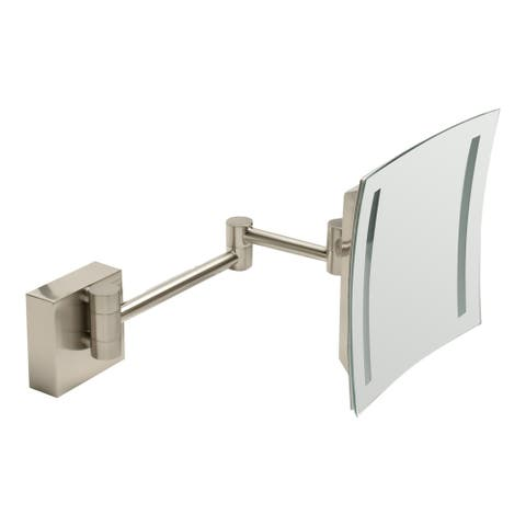 "ALFI brandABM8WLED-BN Brushed Nickel Wall Mount Square 8"" 5x Magnifying Cosmetic Mirror with Light - Grey"