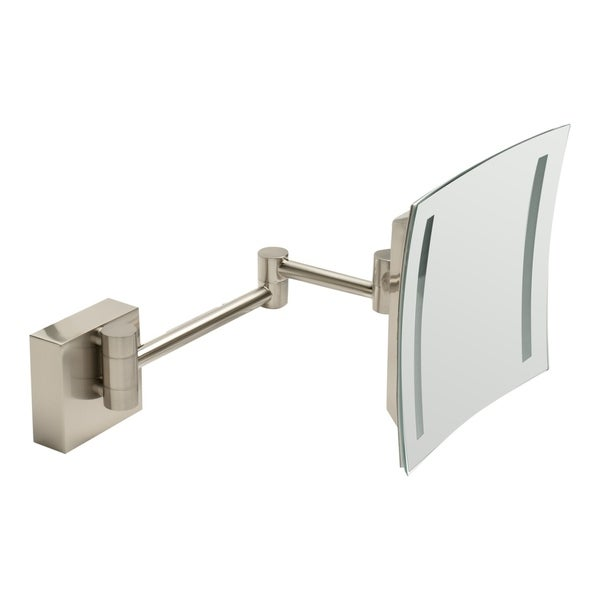 """ALFI brandABM8WLED-BN Brushed Nickel Wall Mount Square 8"""" 5x Magnifying Cosmetic Mirror with Light - Grey. Opens flyout."""