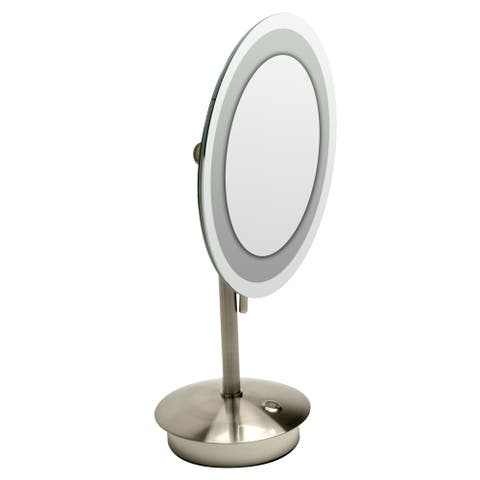 "ALFI brandABM9FLED-BN Brushed Nickel Tabletop Round 9"" 5x Magnifying Cosmetic Mirror with Light - Grey"