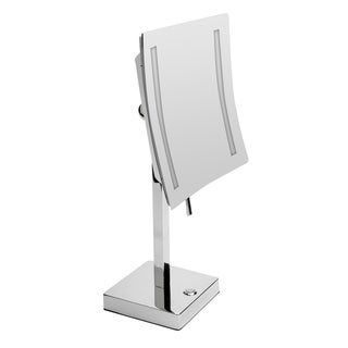 """ALFI brand ABM8FLED-PC Polished Chrome Tabletop Square 8"""" 5x Magnifying Cosmetic Mirror with Light"""