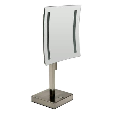 "ALFI brand ABM8FLED-BN Brushed Nickel Tabletop Square 8"" 5x Magnifying Cosmetic Mirror with Light"
