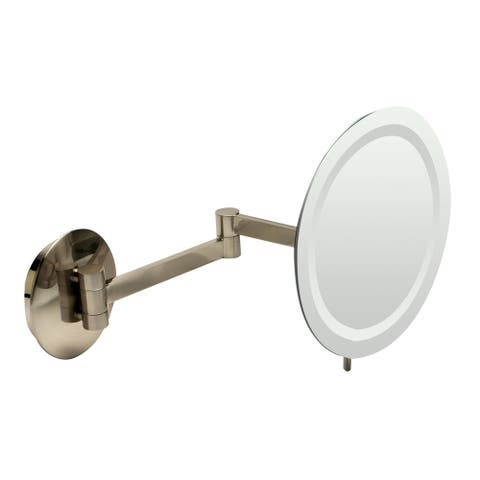 "ALFI brandABM9WLED-BNBrushed Nickel Wall Mount Round 9"" 5x Magnifying Cosmetic Mirror with Light - Grey"