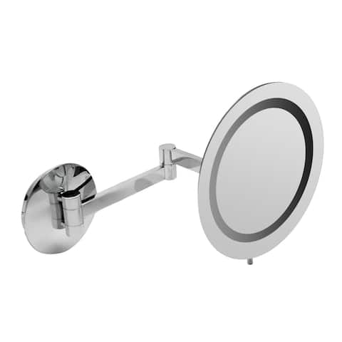"ALFI brandABM9WLED-PCPolished Chrome Wall Mount Round 9"" 5x Magnifying Cosmetic Mirror with Light - Grey"