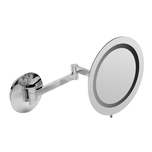 "ALFI brand ABM9WLED-PC Polished Chrome Wall Mount Round 9"" 5x Magnifying Cosmetic Mirror with Light - Grey. Opens flyout."