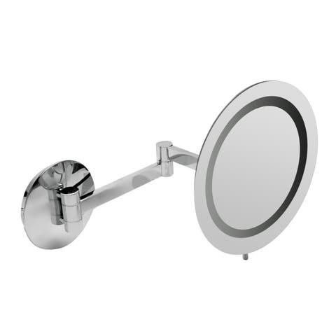 "ALFI brandABM9WLED-PCPolished Chrome Wall Mount Round 9"" 5x Magnifying Cosmetic Mirror with Light"