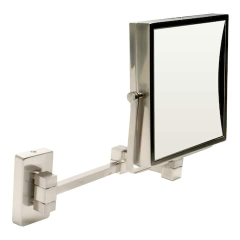 """ALFI brand ABM8WS-BN 8"""" Square Wall Mounted 5x Magnify Cosmetic Mirror"""