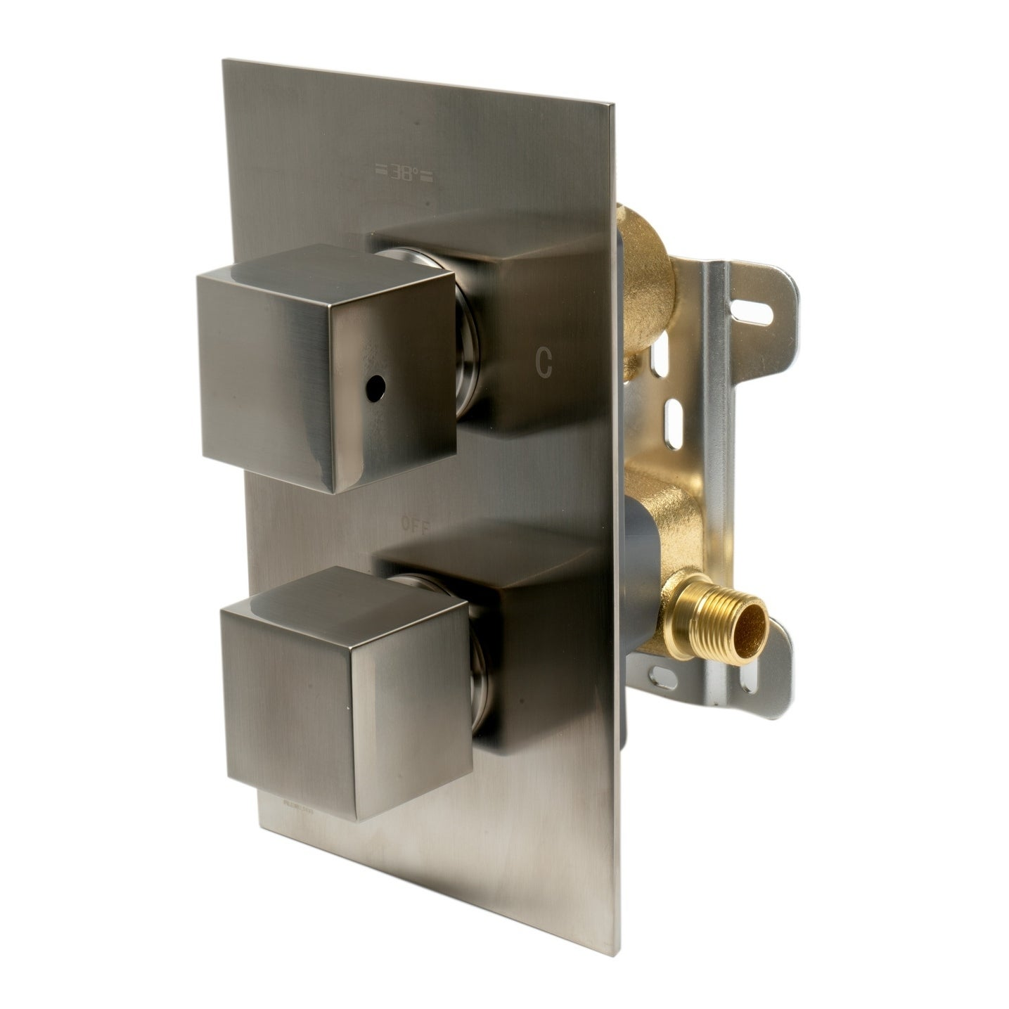 ALFI brand AB2601-BN Brushed Nickel Square Knob 1 Way Thermostatic Shower Mixer