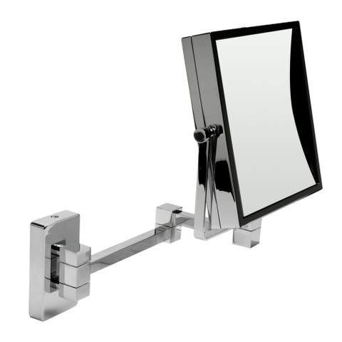 "ALFI brand ABM8WS-PC 8"" Square Wall Mounted 5x Magnify Cosmetic Mirror - Grey"