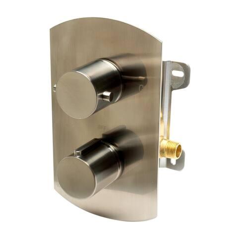 ALFI brand AB3809-BN Brushed Nickel Round Knob 1 Way Thermostatic Shower Mixer