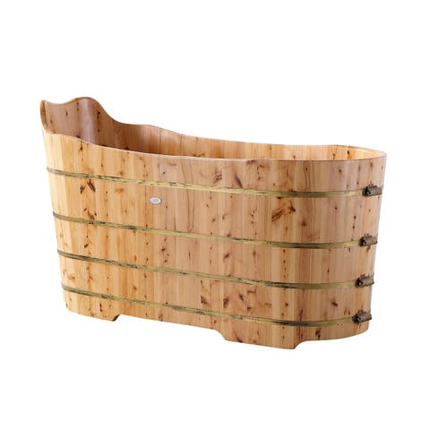 "ALFI brand AB1103 59"" Free Standing Cedar Wood Bathtub with Bench"