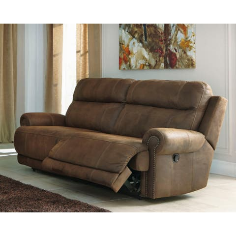 Austere Contemporary 2 Seat Reclining Sofa Brown