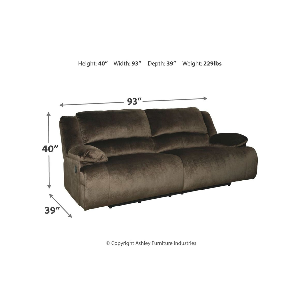Signature Design by Ashley Clonmel Chocolate 2 Seat Reclining Sofa