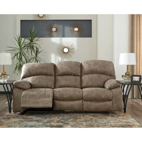 Dunwell Contemporary Power Reclining Sofa with Adjustable Headrest Driftwood