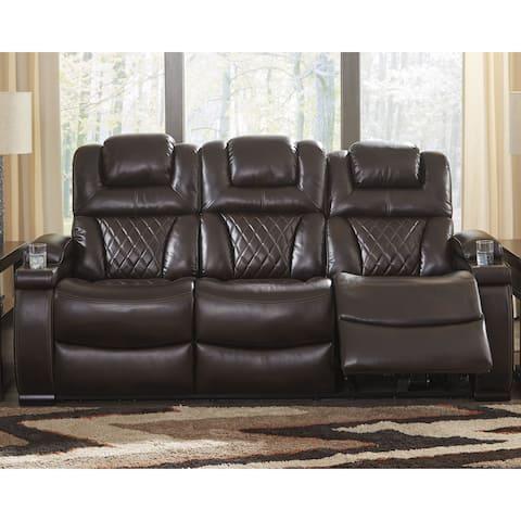 Warnerton Contemporary Power Reclining Sofa with Adjustable Headrest Chocolate