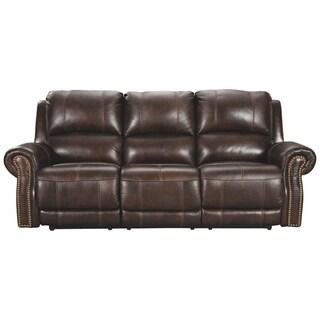 Buncrana Contemporary Power Reclining Sofa with Adjustable Headrest Chocolate
