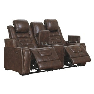 Game Zone Bark Power Reclining Loveseat Console Adjustable Headrest