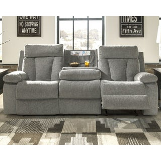 Mitchiner Contemporary Reclining Sofa with Drop Down Table Fog