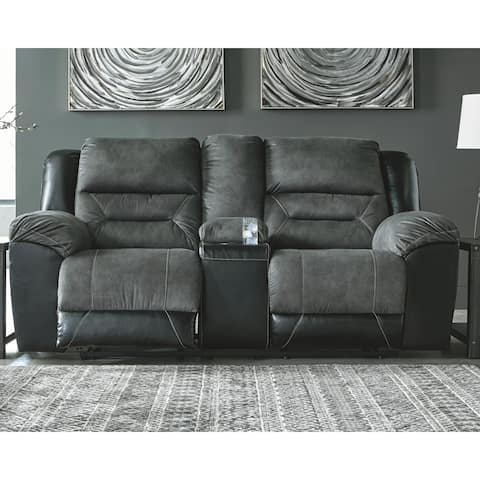 Earhart Slate Double Reclining Loveseat with Console
