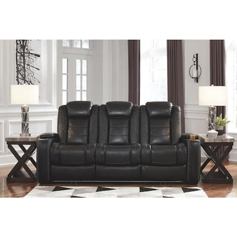 Party Time Black Contemporary Power Reclining Sofa with Adjustable Headrest