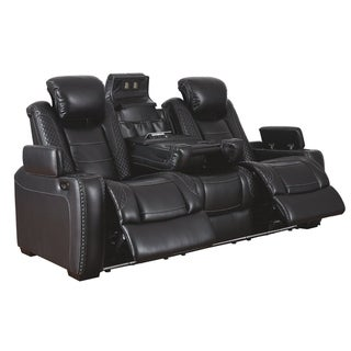 Party Time Contemporary Power Reclining Sofa with Adjustable Headrest Midnight