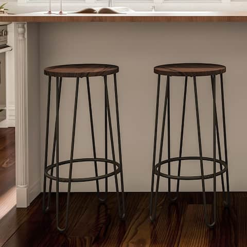 Carbon Loft Malory Elm Wood Bar Stools with Hairpin Legs (Set of 2)