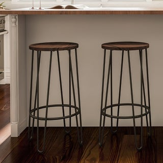 Link to Carbon Loft Malory Elm Wood Bar Stools with Hairpin Legs (Set of 2) Similar Items in Dining Room & Bar Furniture