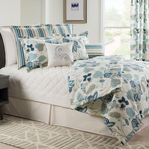 Savannah Floral blue linen weave comforter set