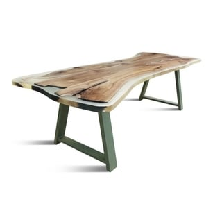 RUBAN 600 Dining Table - Natural Wood/Green